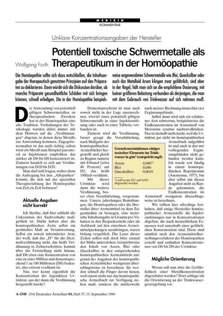 Unklare Konzentrationsangaben der Hersteller: Potentiell toxische Schwermetalle als Therapeutikum in der Homöopathie