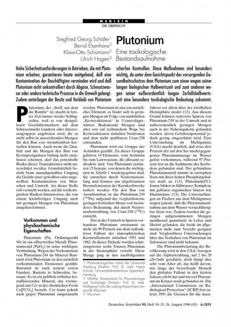 Plutonium: Eine toxikologische Bestandsaufnahme