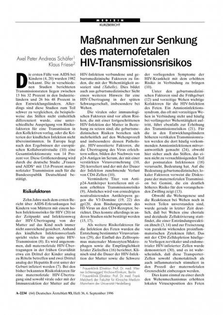 Maßnahmen zur Senkung des maternofetalen...