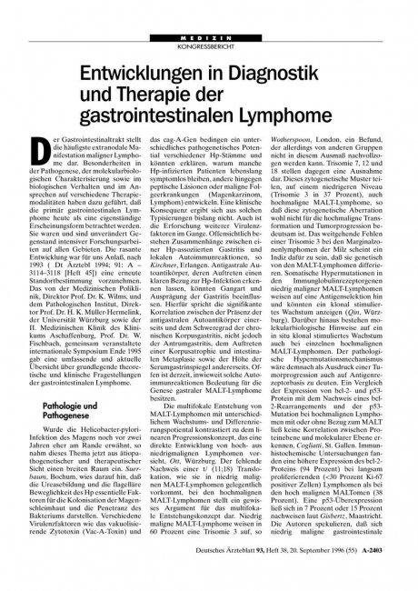 Entwicklungen in Diagnostik und Therapie der...